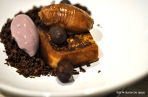 Peanut Butter Ganache, roasted Grape Ice Cream, Grilled Pound Cake, and Chocolate Feuilletine.