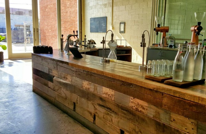 A view of the coffee bar.
