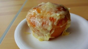 The Ensaymada topped with a 2-year old aged Welsh Cheddar Cheese at Baker Cake Maker.