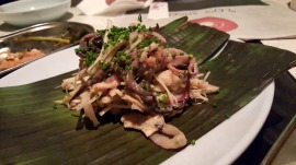 Grilled Squid (Kinilaw Na Pusit) - Squid, leeks, red onion, and calamansi.