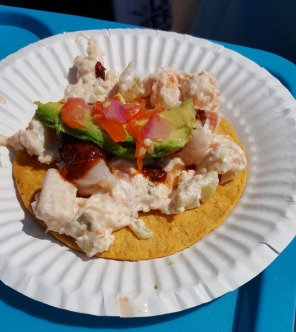 A Scallop Ceviche & Mixed Seafood Tostada by La Guerrerense from Ensenada, Mexico.