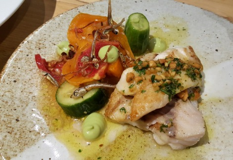 Pan Seared Red Snapper with a Smashed Cucumber and Heirloom Tomato Dilis Salad.