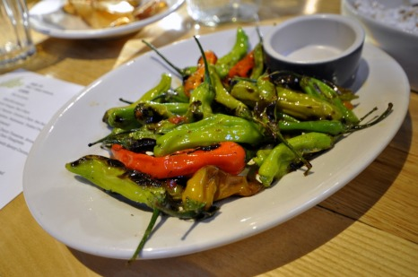Blistered Shishitos, Patismansi, and Pickled Fresno by LASA Pop-up.