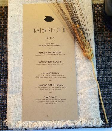 The Filipino Dinner Pop-up menu by Kalan Kitchen.