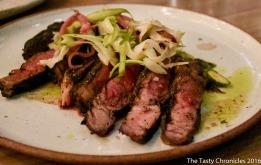 Dry Aged Beef, asparagus, maitake mushroom, Spring onion with a Bagna Cauda.