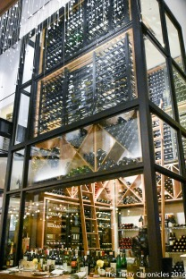 The very tall wine cellar at Otium in Downtown Los Angeles.