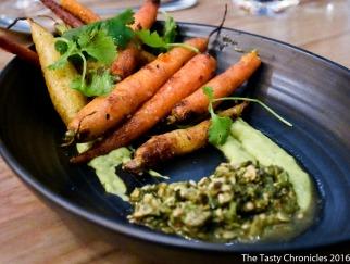 Carrots, pipian, avocado, cilantro.