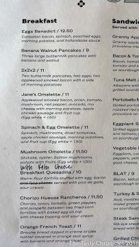 Brunch menu. Jane On York, Highland Park (Los Angeles).